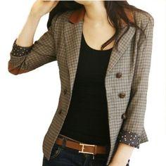 Amazon.com: Vobaga Vintage Style Double-Breasted Check Blazer Jacket Coat: Clothing