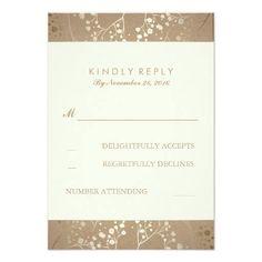 #weddinginvitation #weddinginvitations (Gold Baby's Breath Wedding RSVP Cards) #Babys #BabysBreathReply #Breath #Chic #Craft #Elegant #FloralRsvp #GoldFoilRsvp #Kraft #Reply #Response #Rsvp #Wreath is available on Custom Unique Wedding Invitations  store  http://ift.tt/2cPnipd