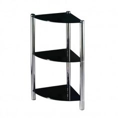 Corner Unit, 3 Tier Black Glass, Chrome Finish Legs