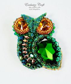 Bead embroidered Owl by Exclusive Craft