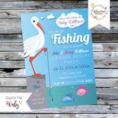 Fishing Themed Gender Reveal Invitation // Stork Gender Reveal Invitation // Personalized Digital Printable by AsterLaneDesign on Etsy https://www.etsy.com/listing/386587272/fishing-themed-gender-reveal-invitation