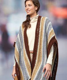 Tasseled Ruana Free Crochet Pattern LW5585