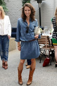 Give in to your western side with cowboy boots - Now I just need to find a denim dress like this!!! I love this outfit!!!