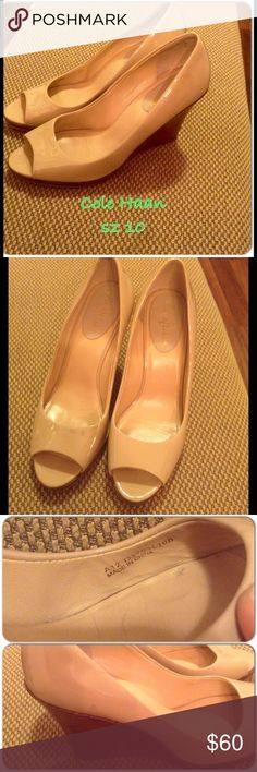 Cole Haan nude peep toe wedge Size 10. Patent nude peep toe wedges from Cole Haan. Adorable fall shoe! Some signs of wear but still awesome condition . Super clean & barely noticeable. These are cheaper on ♏ercari just ask me. Cole Haan Shoes Wedges