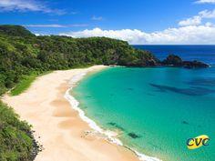 Baía do Sancho, um dos pontos turísticos mais típicos do arquipélago. Por estar localizada logo depois da Baía dos Porcos e cercada por morros, este pedacinho do paraíso exige do turista um pouco de disposição para chegar até lá.