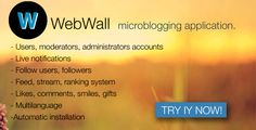 WebWall - social microblogging application   http://codecanyon.net/item/webwall-social-microblogging-application/8285197?ref=damiamio      WebWall – social microblogging application  Requirements - PHP 5.3 - MySQL 5.x - GD Library Installation - Upload all files to root server directory - Give permissions (755) for core/config folder - Open in browser [your_domain] /site/install and complete installation Changelog:   Version 1.1  - Replaced uLogin into Facebook Auth    Features Users - Users…