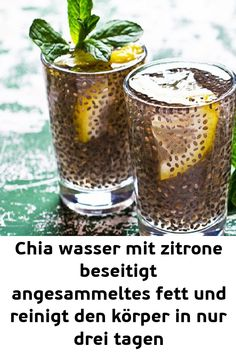 Chia water with lemon eliminates accumulated fat and irritates .- Chia wasser mit zitrone beseitigt angesammeltes fett und reinigt den körper in nur drei tagen Chia water with lemon eliminates accumulated fat and cleanses the body in just three days - Detox Drinks, Healthy Drinks, Nutrition Drinks, Healthy Eats, Natural Cleanse, Diet Books, Alkaline Diet, Lemon Water, Keto Diet For Beginners