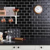 Tilezone online tile shop in UK with range of tiles collection. Buy tiles online in UK from leading online tile store at affordable & discounted price. Black Wall Tiles, Black Backsplash, Wall And Floor Tiles, Black Walls, Splashback Tiles, Black Brick, Backsplash Ideas, Metro White, Brick Bonds