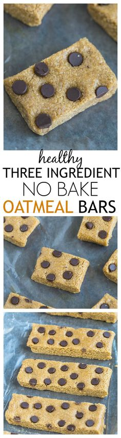 3 Ingredient No Bake Oatmeal Bars- Easy, delicious and the perfect healthy snack.,Healthy, Many of these healthy H E A L T H Y . 3 Ingredient No Bake Oatmeal Bars- Easy, delicious and the perfect healthy snack to have on hand- Naturally glut. Vegan Recipes, Snack Recipes, Dessert Recipes, Cooking Recipes, Amish Recipes, No Bake Oatmeal Bars, Healthy Sweets, Healthy Food, Healthy Bars