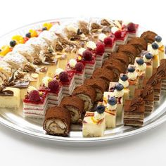 Petit Fours - can't bake? buy them (Christmas Bake Treats) Petit Fours for the people who don't have the time or can't bake . Výsledek obrázku pro petit fours offers a variety of individual desserts and dessert platters for your event needs, including D Dessert Platter, Dessert Buffet, Dessert Bars, Dessert Catering, Cake Platter, Fancy Desserts, No Bake Desserts, Delicious Desserts, Individual Desserts