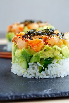 Spicy Shrimp Sushi Stacks - food ideen ideas food food foodYou can find Shrimp and more on our website. Shrimp Recipes Easy, Spicy Recipes, Fish Recipes, Seafood Recipes, Cooking Recipes, Cooked Sushi Recipes, Salmon Recipes, Recipes Dinner, Dinner Ideas