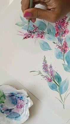 Watercolor Flowers Tutorial, Floral Watercolor, Watercolour Flowers, Watercolor Illustration, Watercolour Drawings, Art Drawings, Watercolours, Watercolor Art Lessons, Watercolor Paintings For Beginners
