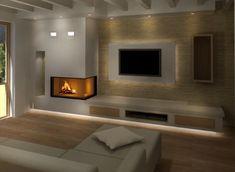 Living Room Decor Fireplace, Condo Living Room, Open Plan Kitchen Living Room, Home Fireplace, Fireplace Surrounds, Fireplace Design, Modern Tv Room, Modern Home Office Desk, Home Room Design