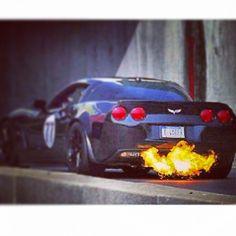 Chevrolet Corvette flaming hell!