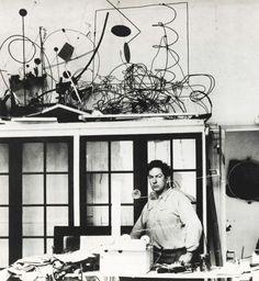 Alexander Calder in his Studio on the Rue de la Colonie, Paris, 1931, Photo by Marc Vaux