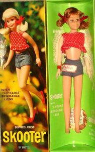 """Vintage Skooter Doll - Bendable Legs. The first Skooter Dolls were introduced in 1965, as Skipper's same size friend - the dolls have the same body with different heads and can share all of the same clothing.Cute is the word most often used to describe Skooter - think of the adorable """"girl next door"""" with pigtails and freckles.Between 1965 and 1967 there were two different dolls and a gift set. They are all pictured and described below."""
