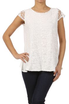 Lace front, open back top that would look great layered under a blazer or cardigan now and then wear it alone in the spring with a brightly-colored cami underneath! Sizes: S-L