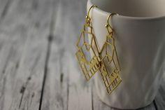 Ohrhänger - Ohrhänger Geo Boho Azteken Schmuck gold Indianer - ein Designerstück von buntezeiten bei DaWanda