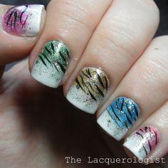 The Lacquerologist: Multi-colored Glitter  Zebra featuring Zoya Bubbly!