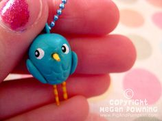 Mini Charm  Brandy Blue Bird  Mini Paperclay by PigAndPumpkin