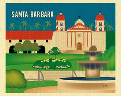 Available in an array of finishes, materials, and sizes, this retro inspired wall art will make Santa Barbara feel close to your heart with its bright color palette and unique design. You can start wi
