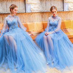 b89d352256 Stylowe   Modne Niebieskie Sukienki Wieczorowe 2019 Princessa Wysokiej Szyi  Perła Aplikacje Cekiny Z Koronki Kwiat