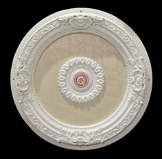 New Chic Shabby French Country Victorian White Ceiling Medallion… Open Ceiling, White Ceiling, Ceiling Decor, Ceiling Lights, Frames Direct, Decorative Mouldings, Decorative Lighting, Ceiling Fan Downrod, Dream Shower