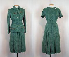 1960s Dress Suit - GREEN AMBITION Vintage 60s Green Wool Boucle Mad Men Designer Dress and Jacket Ensemble L. $188.00, via Etsy.
