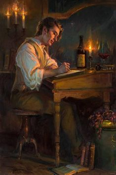 """""""He wasn't so good at writing love letters but she read his letters by her soul. He was her best writer """" 🎨 Artworks By Daniel Gerhartz Renaissance Paintings, Renaissance Art, Victorian Paintings, European Paintings, Old Paintings, Beautiful Paintings, Romantic Paintings, Arte Obscura, Classical Art"""