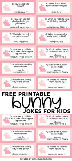 Bunny jokes for kids are funny for the entire family! Use the free printable for lunchbox notes or to put inside Easter Eggs for your egg hunt! These puns are perfect to tell to children who love animals too! PIN these jokes to celebrate with your family! Funny Jokes In Hindi, Funny Jokes For Kids, Funny Jokes To Tell, Funny Puns, Funny Humor, Funny Quotes, Funny Notes From Kids, Jokes Kids, Humor Quotes
