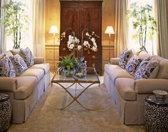 Beautiful living room--matching sofas and all the blue and white!!