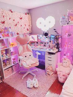 Cute Room Ideas, Cute Room Decor, Pastel Room, Pink Room, Room Design Bedroom, Room Ideas Bedroom, Gaming Room Setup, Gaming Rooms, Pc Setup