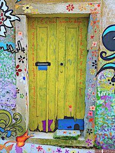 Door With Graffiti In Coimbra-portugal (photo â© Doors images ideas from Best Door Photos Collection Cool Doors, Unique Doors, Entrance Doors, Doorway, Doors Galore, When One Door Closes, Yellow Doors, Knobs And Knockers, Door Gate