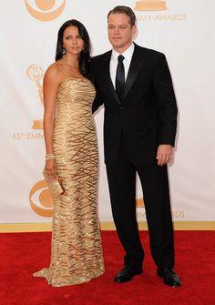 Matt Damon y su mujer, Luciana Barroso, en los Premios Emmy 2013