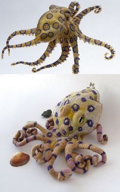 Felted purse - Blue-Ringed octopus by GalaFilc, via Flickr. Inspiration only! Freakin' far out! ¯\_(ツ)_/¯