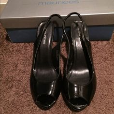Black, patent peep toe sling backs Maurice's brand in excellent condition. Only worn 3 times! Maurices Shoes Heels