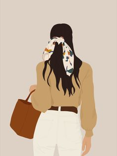 Abstract Illustration, Girl with bag, Digital Illustration, Shop on Etsy Illustration Girl, Portrait Illustration, Girl Cartoon, Cartoon Art, Doodle Drawing, Beautiful Sketches, Digital Art Girl, Aesthetic Art, Fashion Art