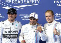 Felipe Massa, com Nico Rosberg e Valtteri Bottas: os três primeiros colocados do grid da Áustria (Foto: AP)
