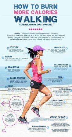 Simple Walking tips to burn more calories.