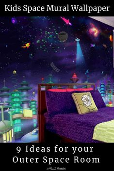 Click to see this kids space mural and 8 other ideas for an outer space room (some of them featured on Cityline TV). The removable wallpaper features an interstellar city in space with hovering galactic UFOs and spaceships. It's super easy to hang so I made a How To Hang video for you. See all the outer space bedroom ideas from my blog. #kidsspaceroom #outerspaceroom #kidsbedroom Outer Space Bedroom, Kids Bedroom, Bedroom Ideas, Interstellar, Winx Club, Spaceships, Kid Spaces, Night Skies, Super Easy