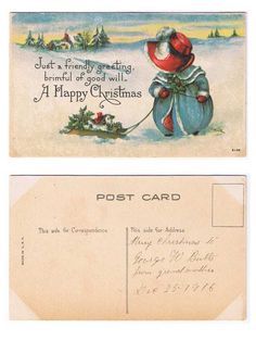 Antiques from the web Just a Friendly Greeting... Artist Signed E. Dulk Postcard