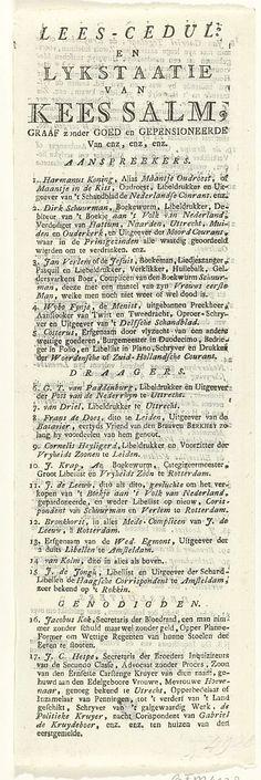 Naamlijst bij de prent met de begrafenis van een dode zalm, 1787, anoniem, 1787
