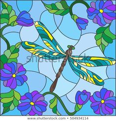 Illustration in stained glass style with bright dragonfly against the sky, foliage and flowers Stained Glass Tattoo, Stained Glass Paint, Stained Glass Designs, Stained Glass Projects, Stained Glass Patterns, Poppy Flower Painting, Butterfly Painting, Glass Wall Art, Hanging Wall Art