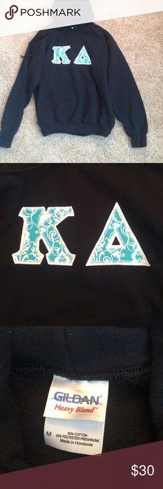 Kappa Delta sweatshirt Black sweatshirt. Super pretty light blue and white letters sewed on the front. Plain back. Size medium. Worn twice. Perfect condition! Feel free to make an offer or create a kappa delta bundle!! Gildan Tops Sweatshirts & Hoodies