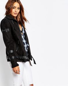 Image 1 of Noisy May Snow Faux Shearling Oversize Aviator Jacket