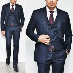 Sophisticated Dark Navy Check 3pcs Suit