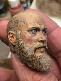 Paint and Hair by Dario Barbera Pottery Sculpture, Sculpture Clay, Sculptures, Arte Fashion, Fantasy Miniatures, Ragnar, Figure Model, Doll Face, Figure Painting