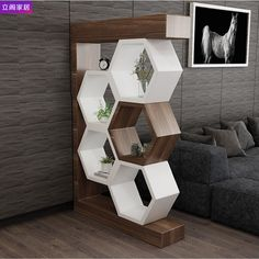 32 Nice Modern Minimalist Wall Decor Ideas For Your Interior - Contemporary home decor is the top of the line when it comes to home decor styles to bring to play in your home. While most people have a general idea. Home Decor Shelves, Wall Shelves Design, Wall Design, Pallet Wall Shelves, Decor Home Living Room, Home Decor Furniture, Diy Home Decor, Living Room Partition Design, Room Partition Designs