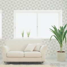 Trisk Repeat Stencil- Buy reusable wall stencils online at The Stencil Studio
