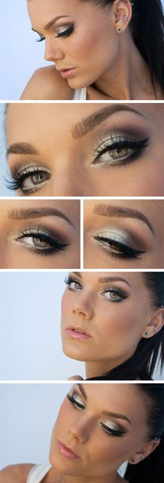 Gorgeous icy white and brown eye makeup look and light glossy nude pink lip by Makeup Artist Linda Hallberg, great look for spring or summer to brighten the face.